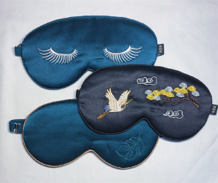 Embroidered silk eye mask
